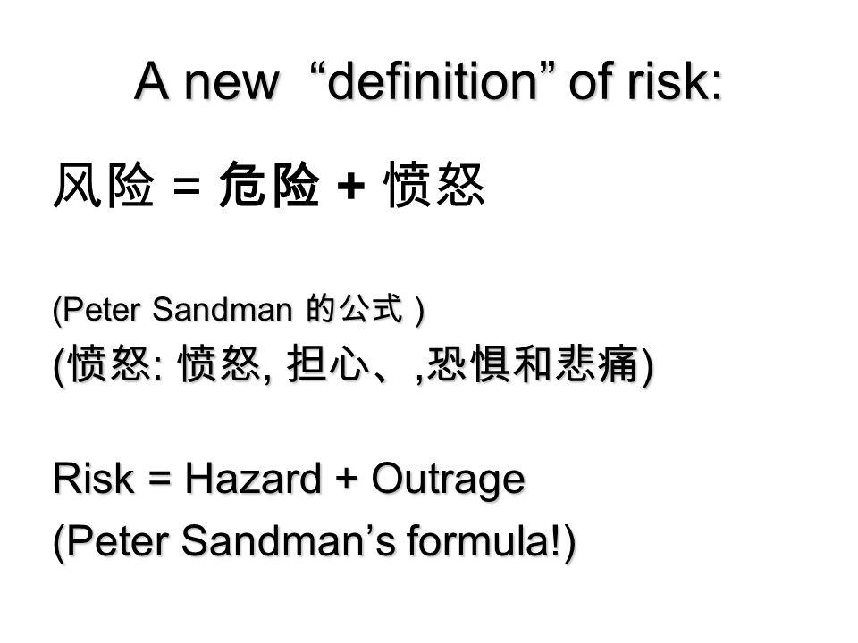 A new definition of risk: 风险 = 危险 + 愤怒 (Peter Sandman 的公式 ) ( 愤怒 : 愤怒, 担心、, 恐惧和悲痛 ) Risk = Hazard + Outrage (Peter Sandman's formula!) Copyright 2006 Peter Sandman