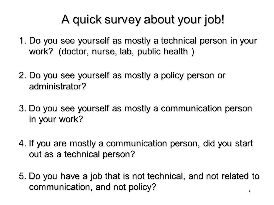 A quick survey about your job. A quick survey about your job.