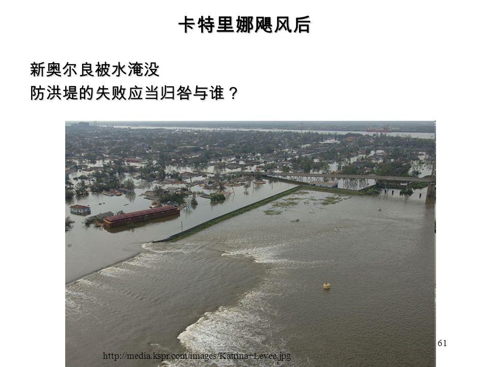 61 卡特里娜飓风后 新奥尔良被水淹没防洪堤的失败应当归咎与谁? http://media.kspr.com/images/Katrina+Levee.jpg