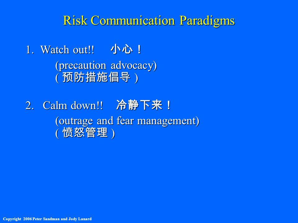 Risk Communication Paradigms 1. Watch out!. 小心! (precaution advocacy) ( 预防措施倡导 ) 2.
