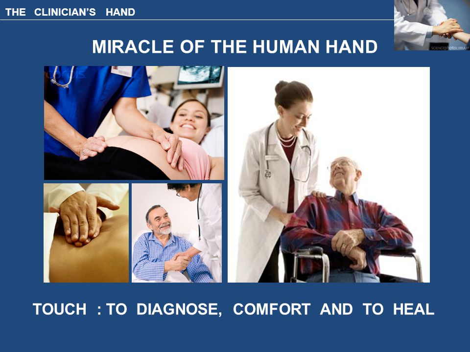 THE CLINICIAN'S HAND MIRACLE OF THE HUMAN HAND TOUCH : TO DIAGNOSE, COMFORT AND TO HEAL