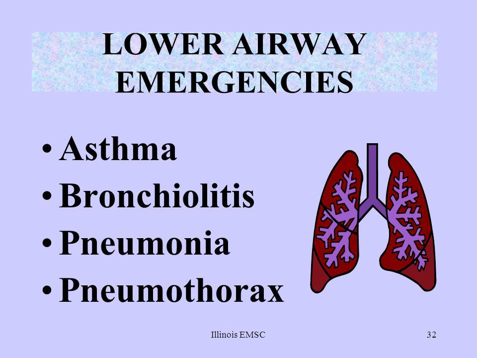 Illinois EMSC32 LOWER AIRWAY EMERGENCIES Asthma Bronchiolitis Pneumonia Pneumothorax