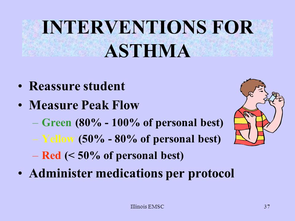 Illinois EMSC37 INTERVENTIONS FOR ASTHMA Reassure student Measure Peak Flow –Green (80% - 100% of personal best) –Yellow (50% - 80% of personal best)