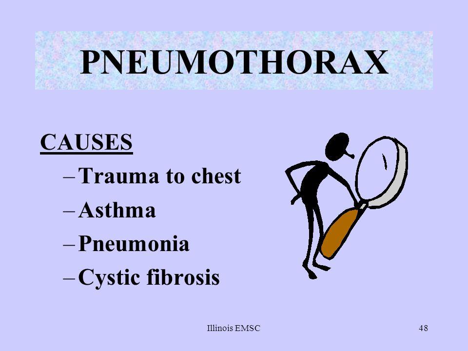 Illinois EMSC48 PNEUMOTHORAX CAUSES –Trauma to chest –Asthma –Pneumonia –Cystic fibrosis