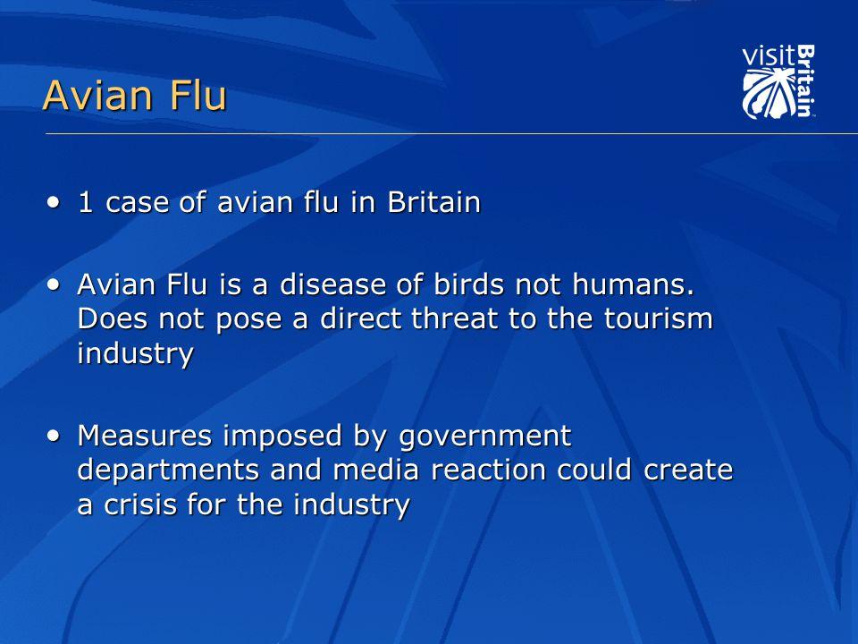 Avian Flu 1 case of avian flu in Britain 1 case of avian flu in Britain Avian Flu is a disease of birds not humans.