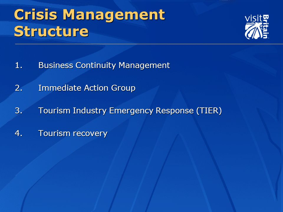 Crisis Management Structure 1.Business Continuity Management 2.Immediate Action Group 3.Tourism Industry Emergency Response (TIER) 4.Tourism recovery