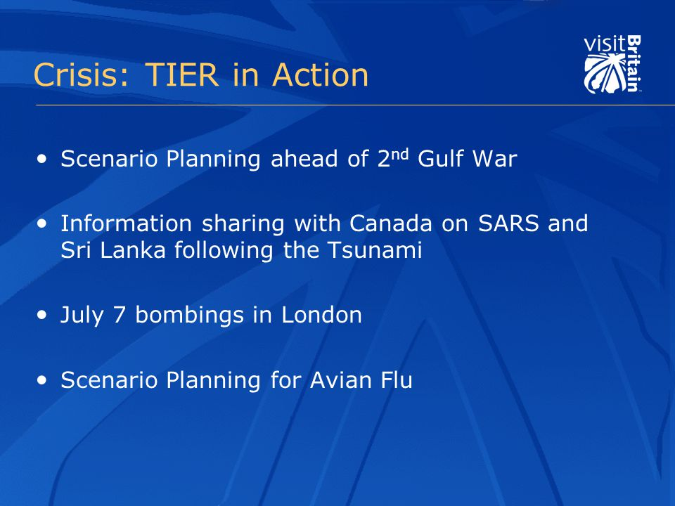 Crisis: TIER in Action Scenario Planning ahead of 2 nd Gulf War Information sharing with Canada on SARS and Sri Lanka following the Tsunami July 7 bombings in London Scenario Planning for Avian Flu