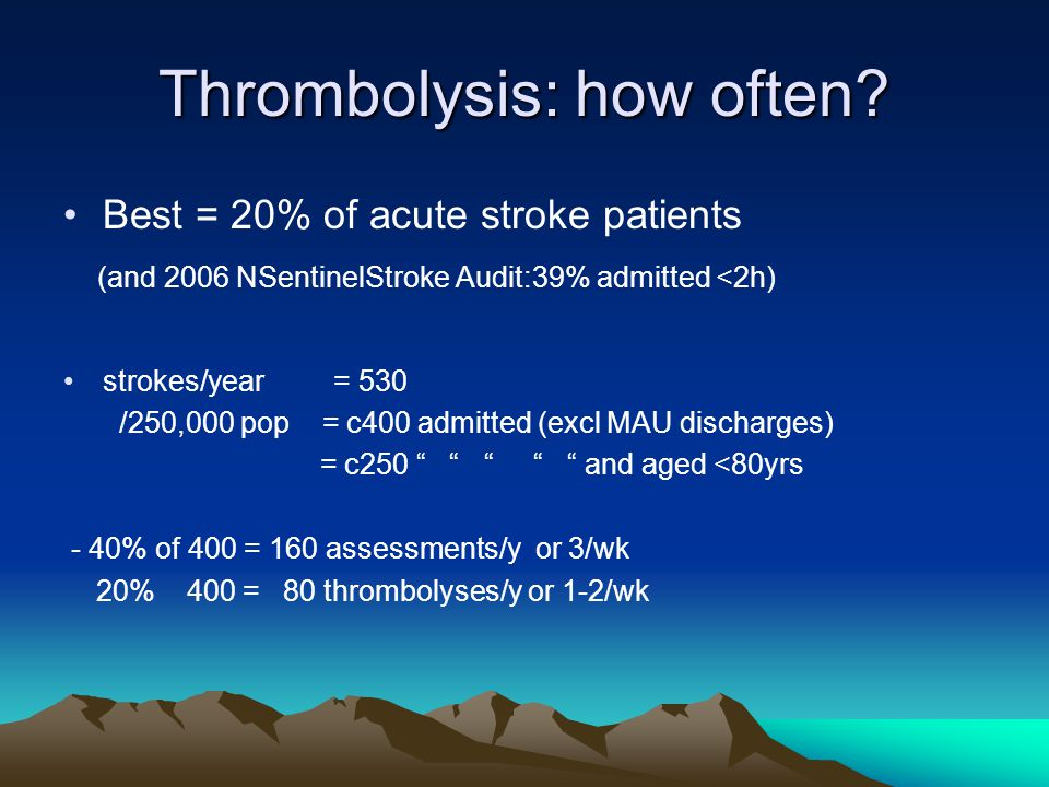 Thrombolysis: how often? Best = 20% of acute stroke patients (and 2006 NSentinelStroke Audit:39% admitted <2h) strokes/year = 530 /250,000 pop = c400