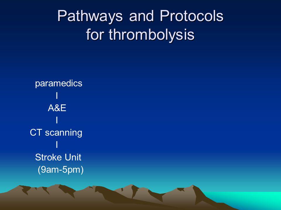 Pathways and Protocols for thrombolysis paramedics I A&E I CT scanning I Stroke Unit (9am-5pm)