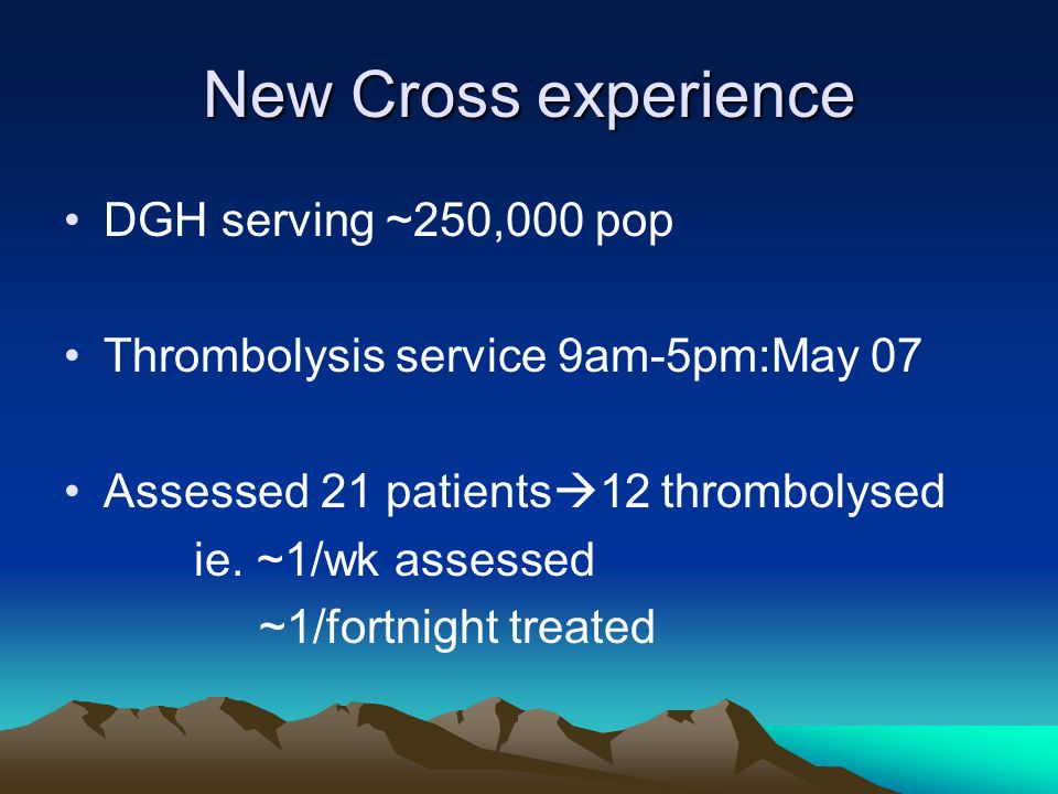 New Cross experience DGH serving ~250,000 pop Thrombolysis service 9am-5pm:May 07 Assessed 21 patients  12 thrombolysed ie.