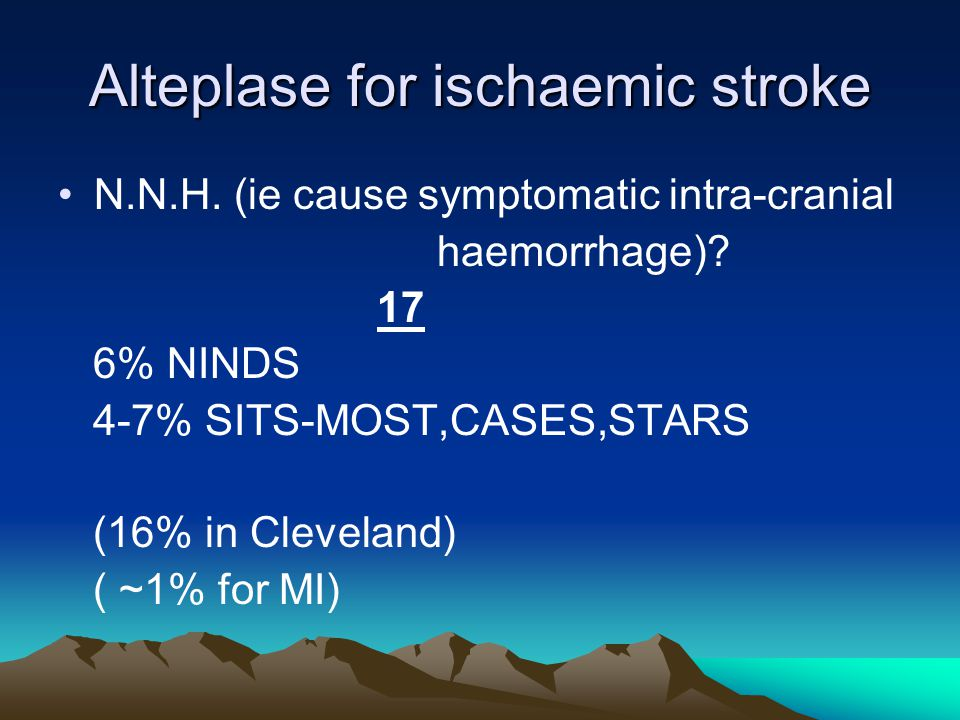 Alteplase for ischaemic stroke N.N.H. (ie cause symptomatic intra-cranial haemorrhage).