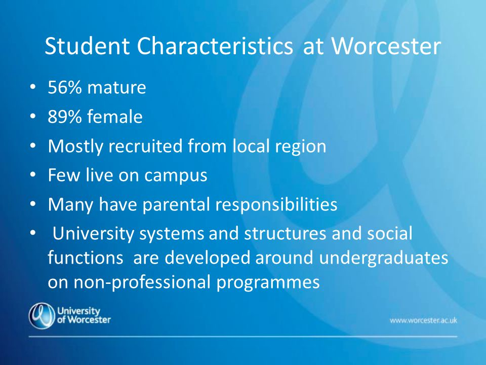 Student Characteristics at Worcester 56% mature 89% female Mostly recruited from local region Few live on campus Many have parental responsibilities University systems and structures and social functions are developed around undergraduates on non-professional programmes