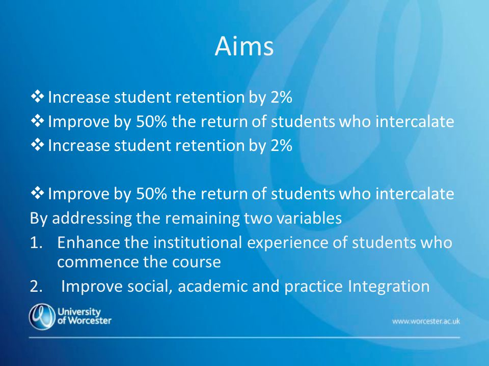 Aims  Increase student retention by 2%  Improve by 50% the return of students who intercalate  Increase student retention by 2%  Improve by 50% the return of students who intercalate By addressing the remaining two variables 1.Enhance the institutional experience of students who commence the course 2.