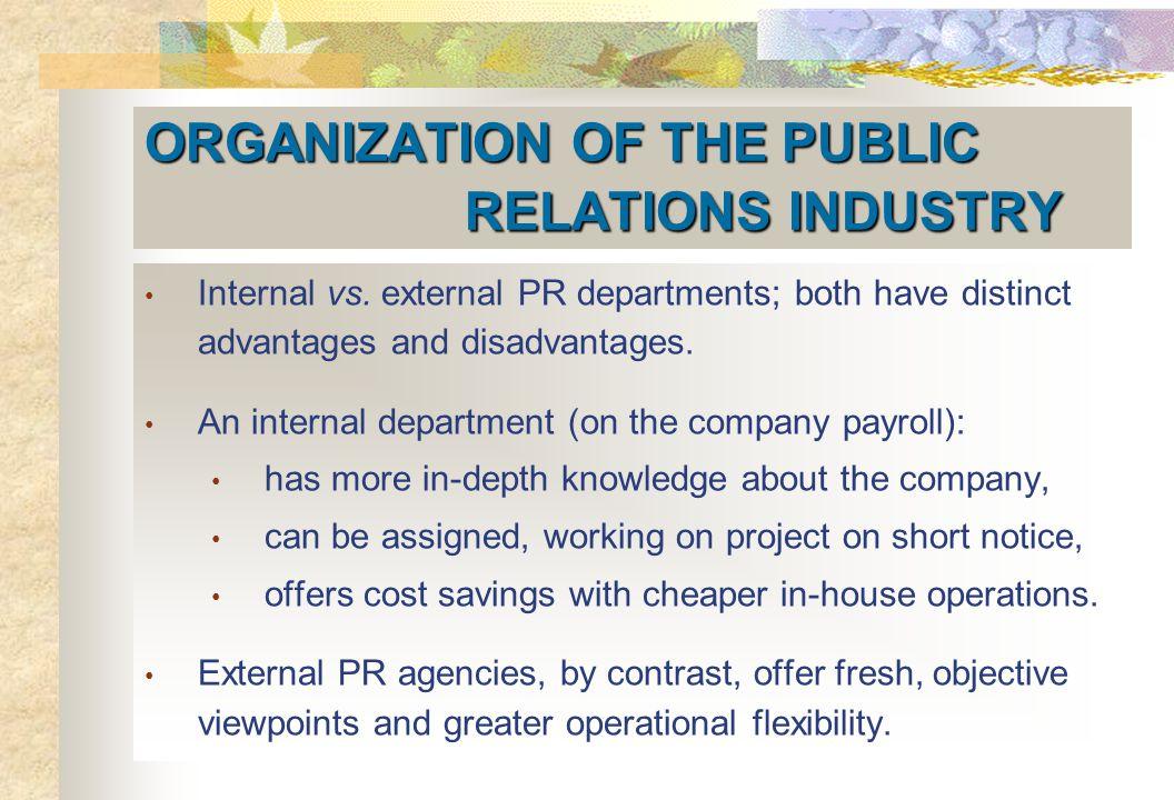 ORGANIZATION OF THE PUBLIC RELATIONS INDUSTRY Internal vs.