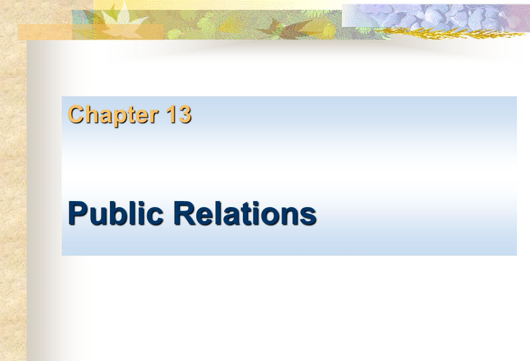 Chapter 13 Public Relations