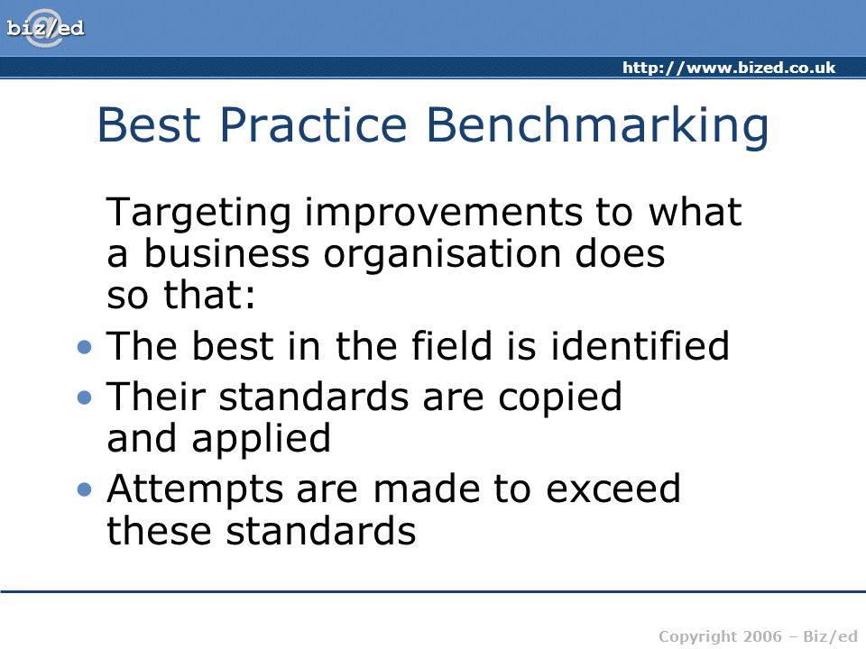 http://www.bized.co.uk Copyright 2006 – Biz/ed Best Practice Benchmarking Targeting improvements to what a business organisation does so that: The best in the field is identified Their standards are copied and applied Attempts are made to exceed these standards