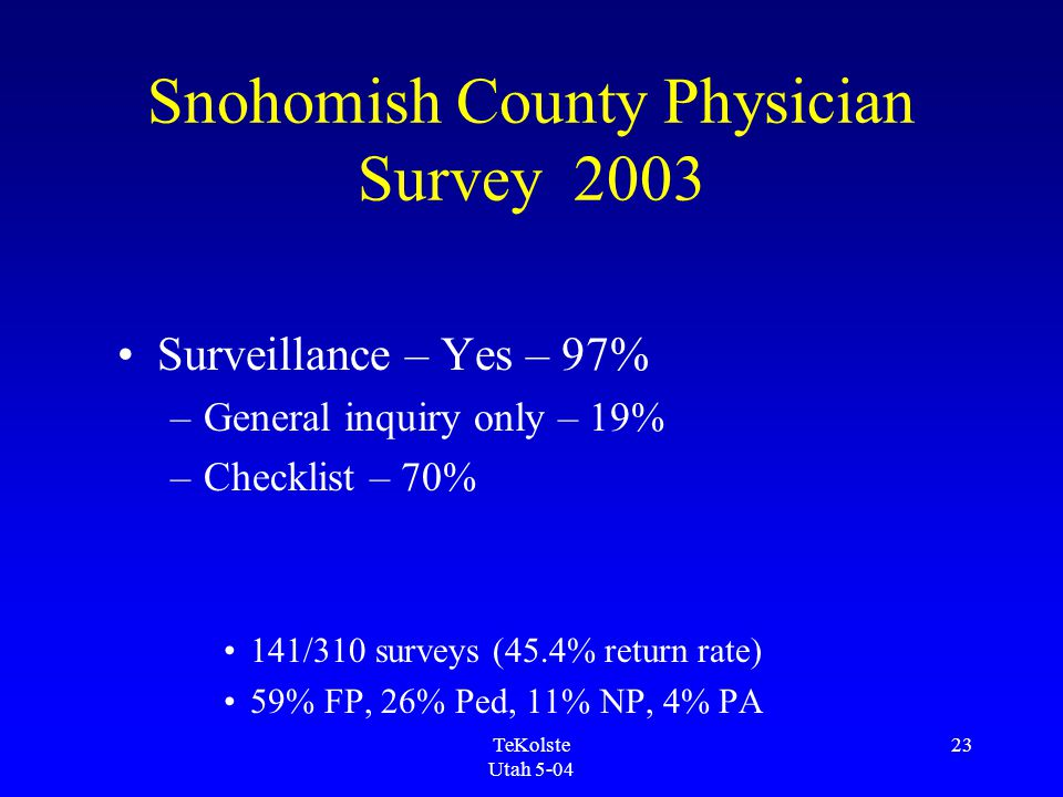 TeKolste Utah 5-04 23 Snohomish County Physician Survey 2003 Surveillance – Yes – 97% –General inquiry only – 19% –Checklist – 70% 141/310 surveys (45.4% return rate) 59% FP, 26% Ped, 11% NP, 4% PA