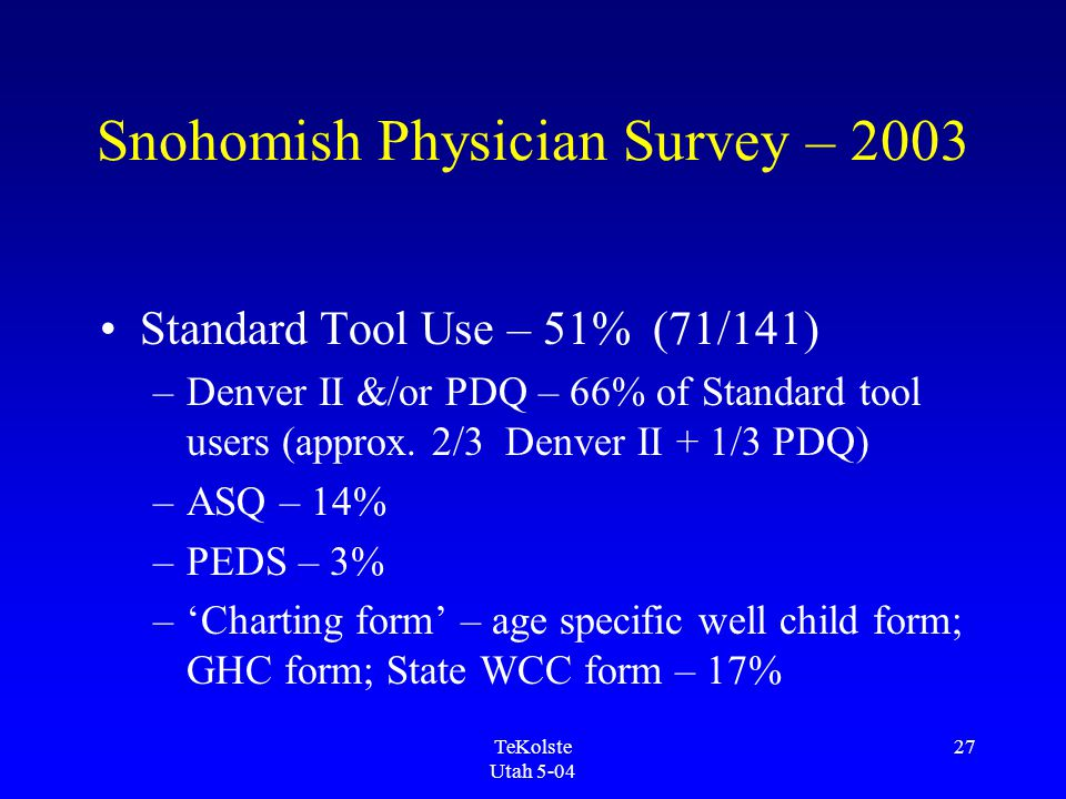 TeKolste Utah 5-04 27 Snohomish Physician Survey – 2003 Standard Tool Use – 51% (71/141) –Denver II &/or PDQ – 66% of Standard tool users (approx.