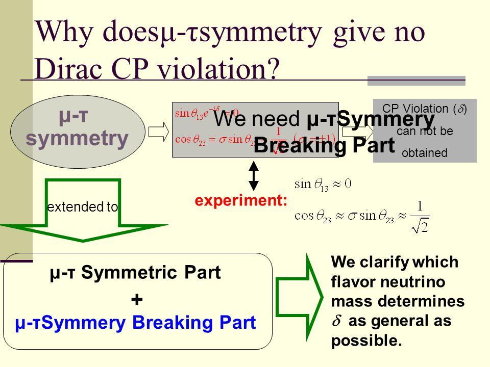 μ-τ Symmetric Part + μ-τSymmery Breaking Part μ-τ symmetry CP Violation (  ) can not be obtained We clarify which flavor neutrino mass determines  as general as possible.