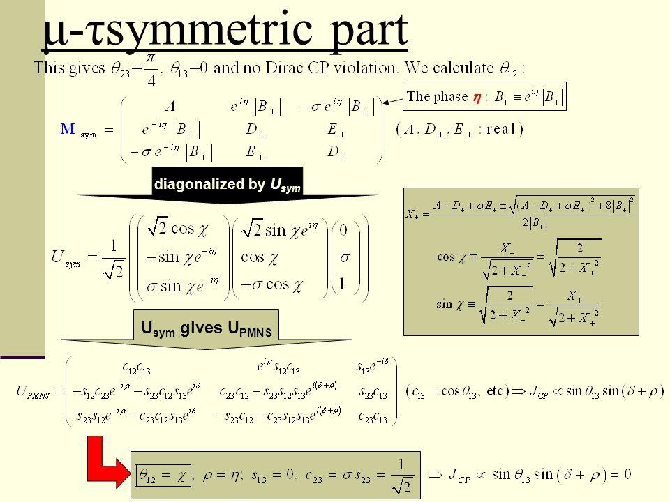diagonalized by U sym μ-τsymmetric part U sym gives U PMNS