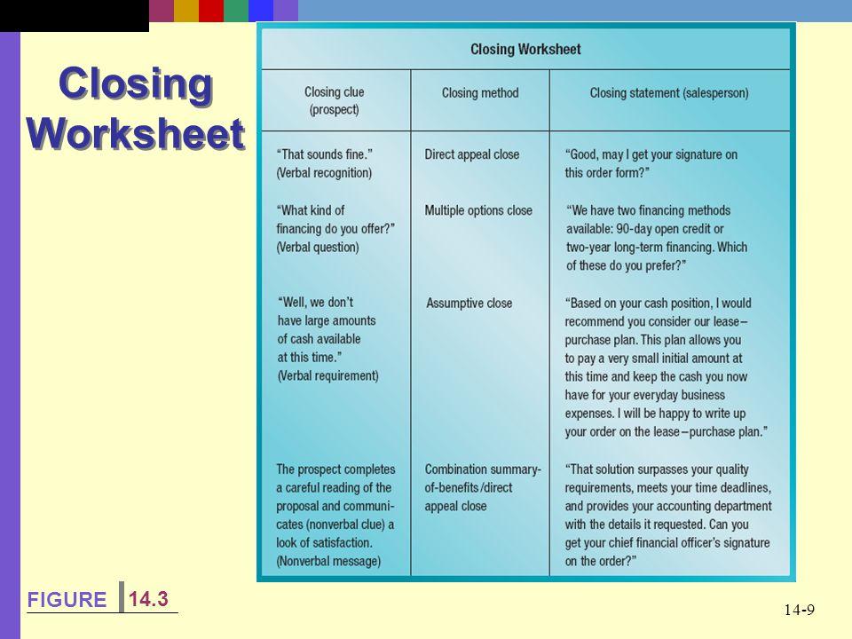 14-9 Closing Worksheet FIGURE 14.3