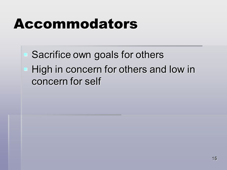 15 Accommodators  Sacrifice own goals for others  High in concern for others and low in concern for self