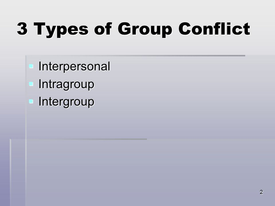2 3 Types of Group Conflict  Interpersonal  Intragroup  Intergroup