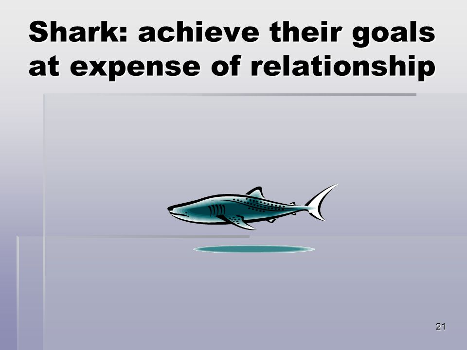 21 Shark: achieve their goals at expense of relationship