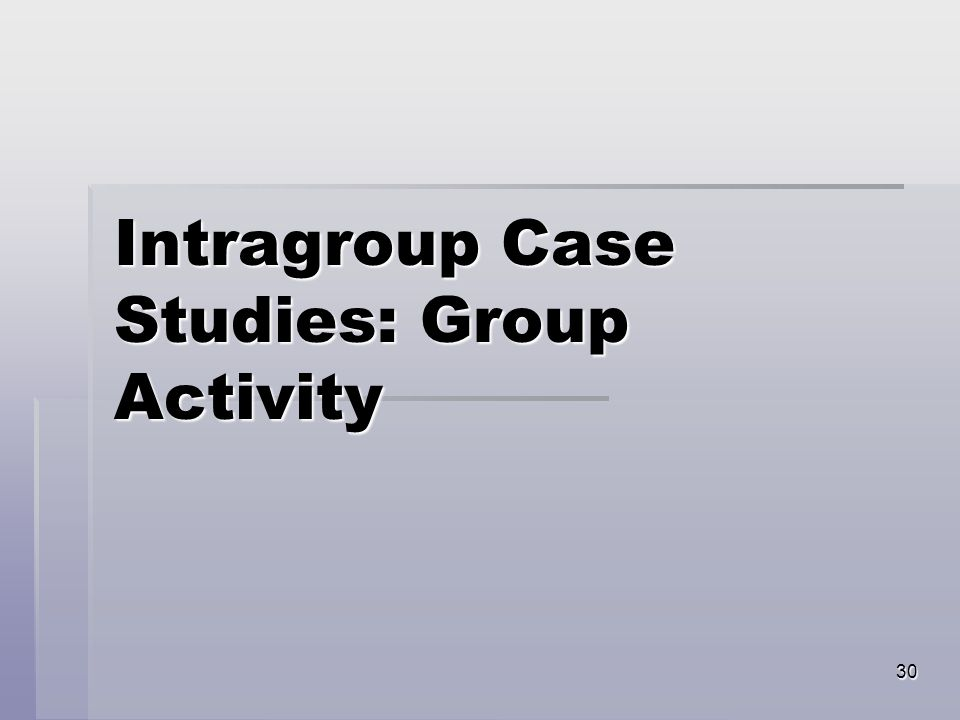 30 Intragroup Case Studies: Group Activity
