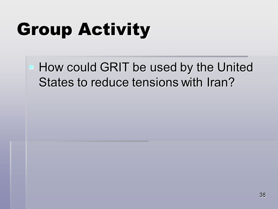 36 Group Activity  How could GRIT be used by the United States to reduce tensions with Iran?