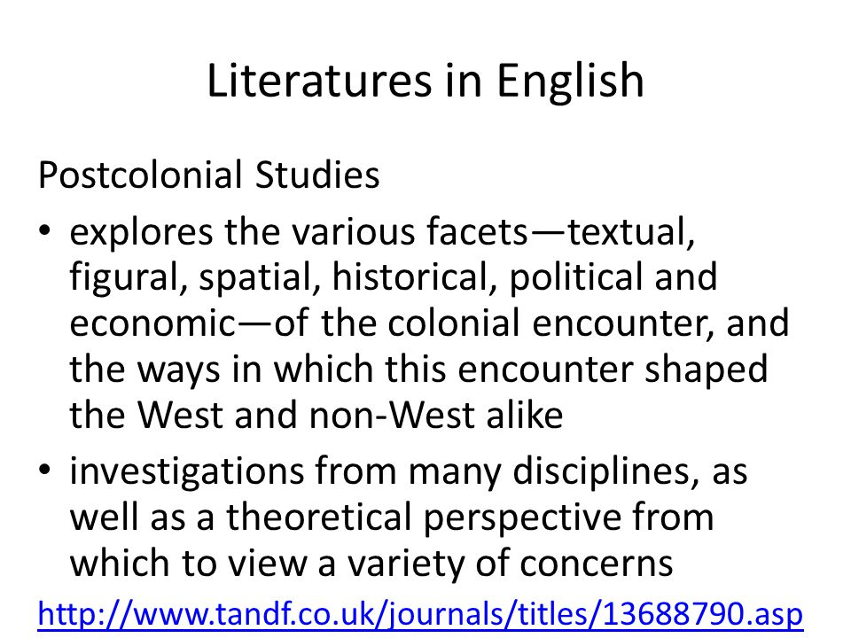 Literatures in English Postcolonial Studies explores the various facets—textual, figural, spatial, historical, political and economic—of the colonial