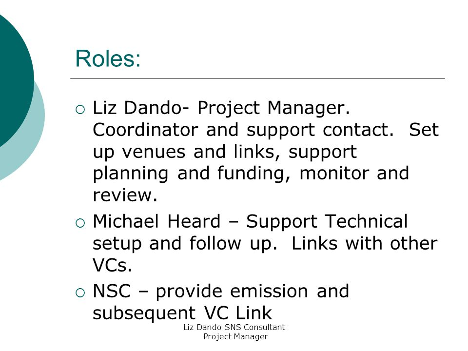 Liz Dando SNS Consultant Project Manager Roles:  Liz Dando- Project Manager.