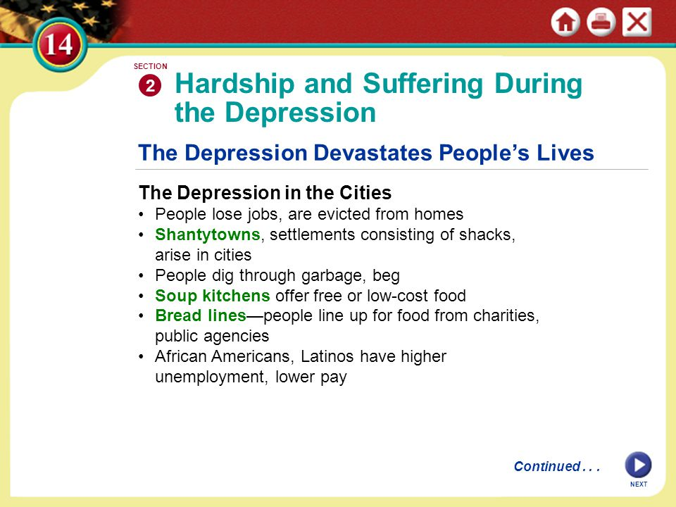 The Depression Devastates People's Lives The Depression in the Cities People lose jobs, are evicted from homes Shantytowns, settlements consisting of shacks, arise in cities People dig through garbage, beg Soup kitchens offer free or low-cost food Bread lines—people line up for food from charities, public agencies African Americans, Latinos have higher unemployment, lower pay Hardship and Suffering During the Depression 2 SECTION NEXT Continued...