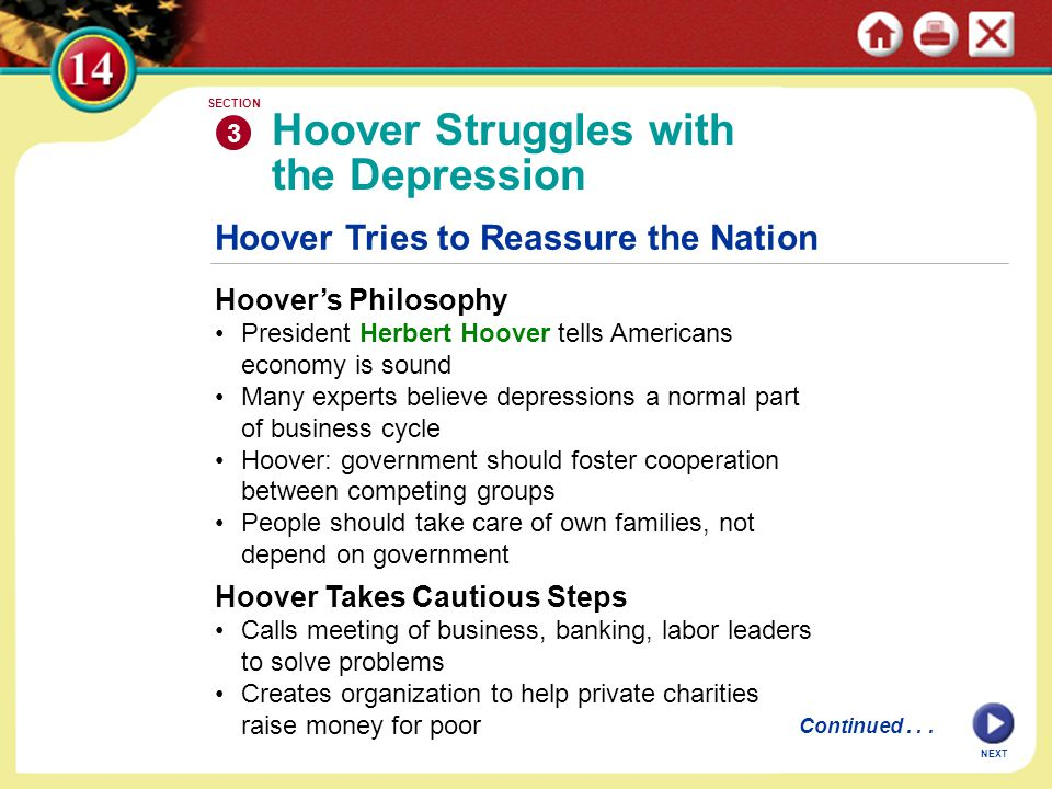 NEXT Hoover Tries to Reassure the Nation Hoover's Philosophy President Herbert Hoover tells Americans economy is sound Many experts believe depressions a normal part of business cycle Hoover: government should foster cooperation between competing groups People should take care of own families, not depend on government Hoover Struggles with the Depression 3 SECTION Continued...
