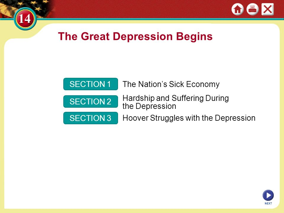 The Great Depression Begins SECTION 1 SECTION 2 SECTION 3 The Nation's Sick Economy Hardship and Suffering During the Depression Hoover Struggles with the Depression