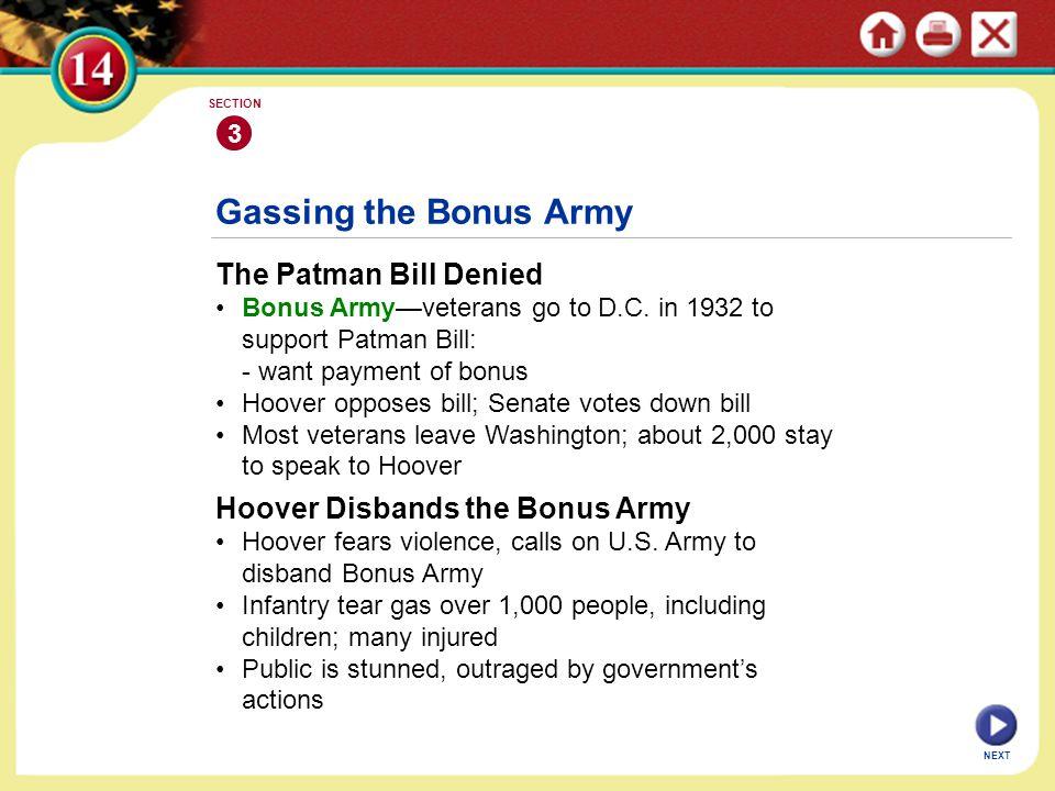 NEXT Gassing the Bonus Army The Patman Bill Denied Bonus Army—veterans go to D.C.