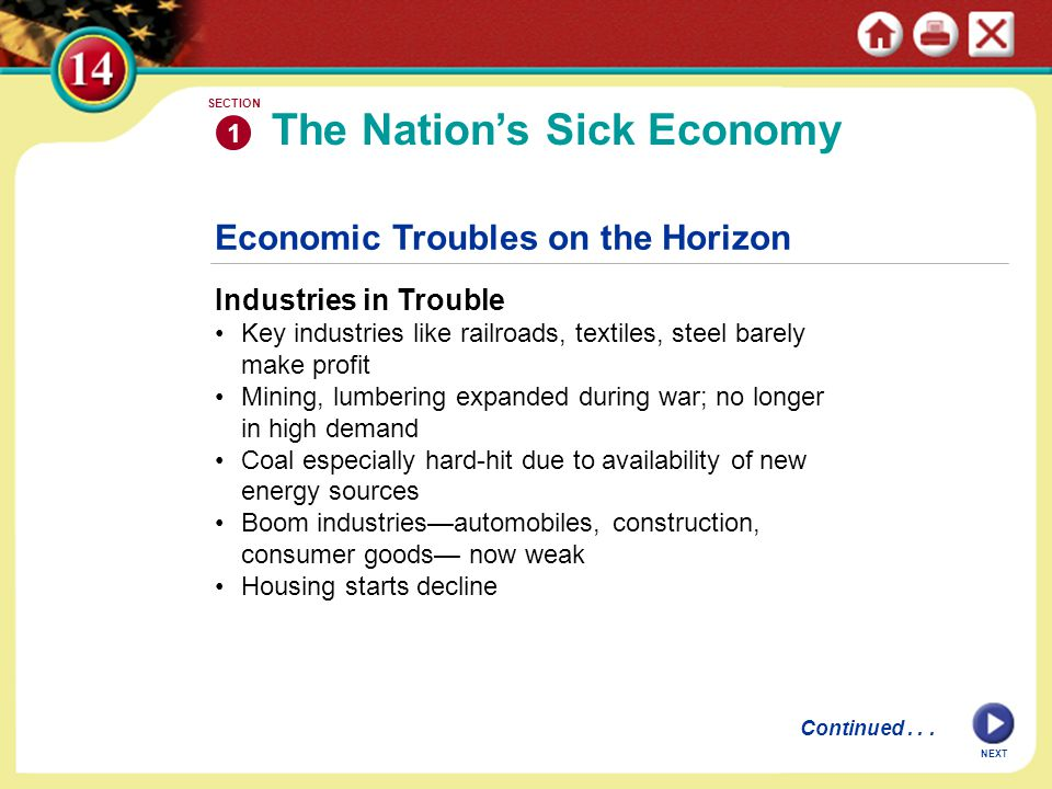 Economic Troubles on the Horizon Industries in Trouble Key industries like railroads, textiles, steel barely make profit Mining, lumbering expanded during war; no longer in high demand Coal especially hard-hit due to availability of new energy sources Boom industries—automobiles, construction, consumer goods— now weak Housing starts decline The Nation's Sick Economy 1 SECTION NEXT Continued...