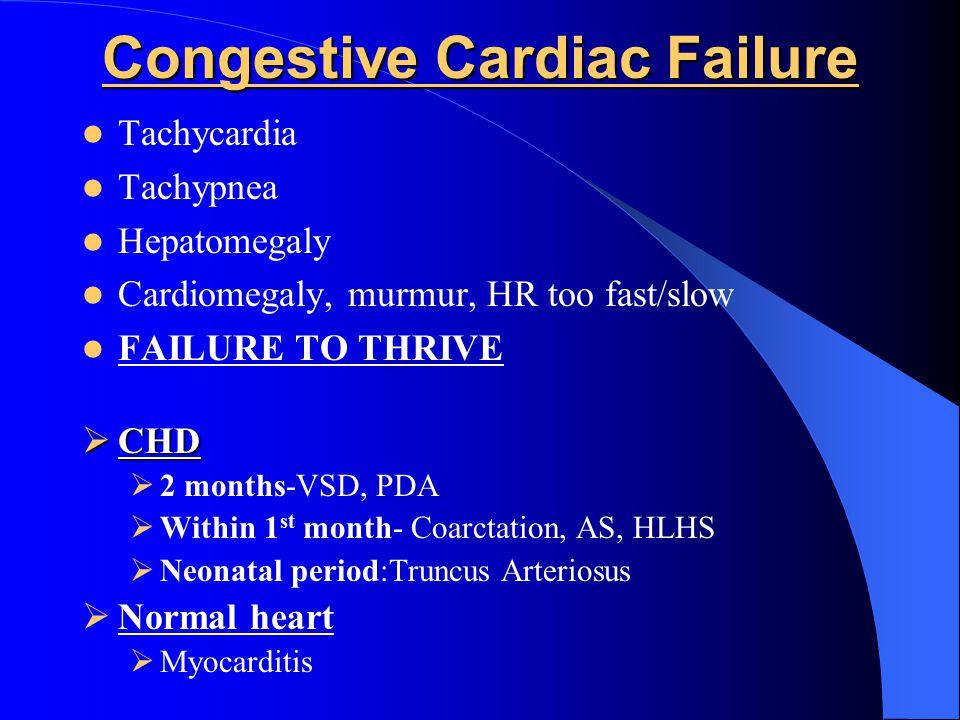 Congestive Cardiac Failure Tachycardia Tachypnea Hepatomegaly Cardiomegaly, murmur, HR too fast/slow FAILURE TO THRIVE  CHD  2 months-VSD, PDA  Wit