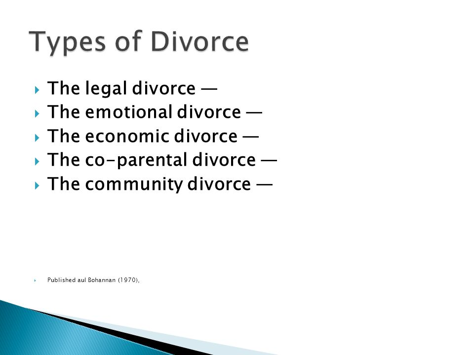  The legal divorce —  The emotional divorce —  The economic divorce —  The co-parental divorce —  The community divorce —  Published aul Bohannan (1970),