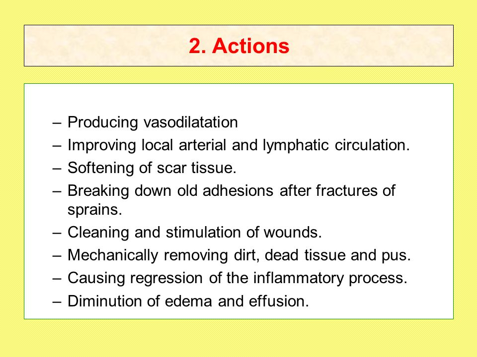 2.Actions –Producing vasodilatation –Improving local arterial and lymphatic circulation.