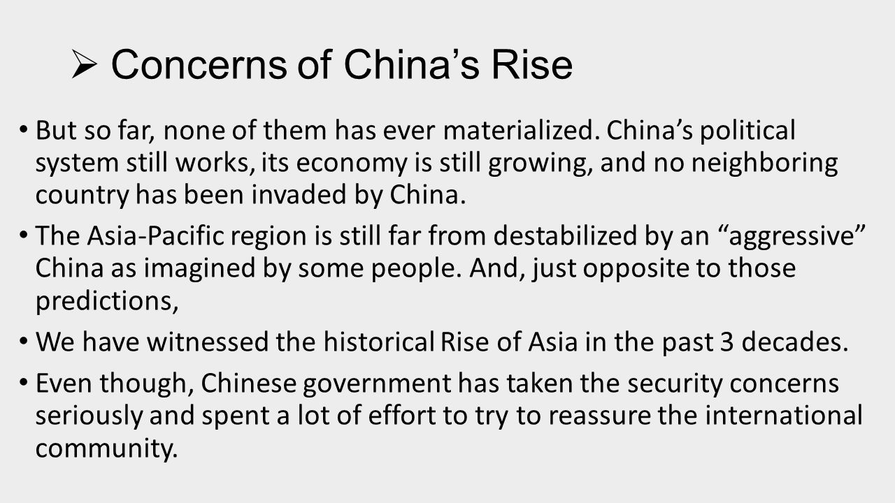  Concept of Peaceful Rise of China Zheng Bijian's Concept of Peaceful Rise --Zheng Bijian, China's 'Peaceful Rise' to Great Power Status, Foreign Affairs 84, no.