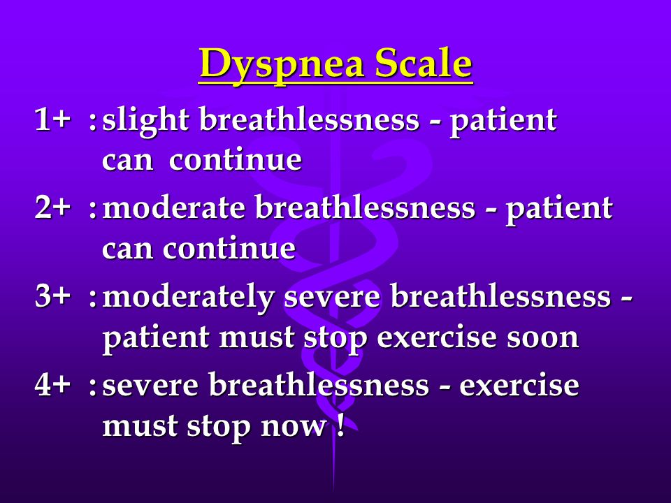 Dyspnea Scale 1+ :slight breathlessness - patient can continue 2+ :moderate breathlessness - patient can continue 3+ :moderately severe breathlessness