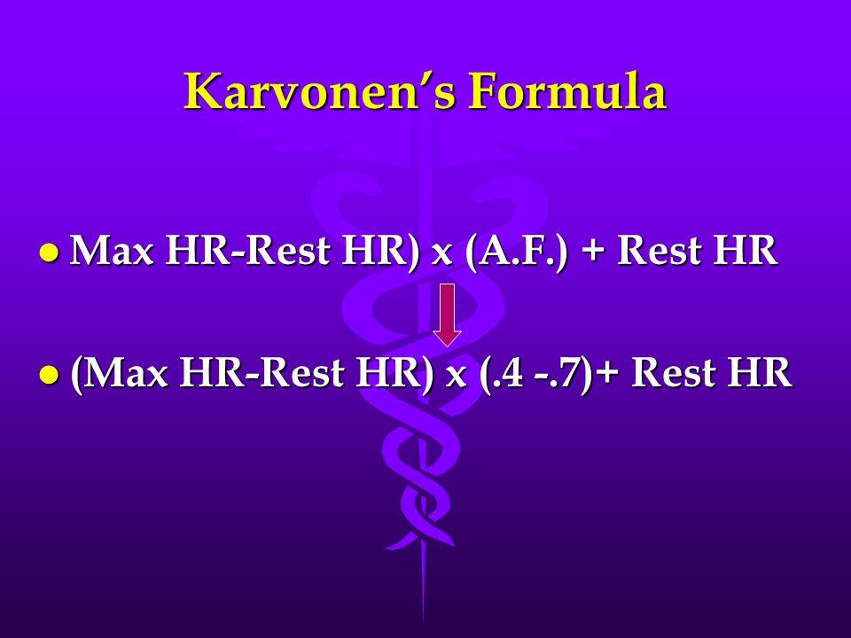 Karvonen's Formula l Max HR-Rest HR) x (A.F.) + Rest HR l (Max HR-Rest HR) x (.4 -.7)+ Rest HR