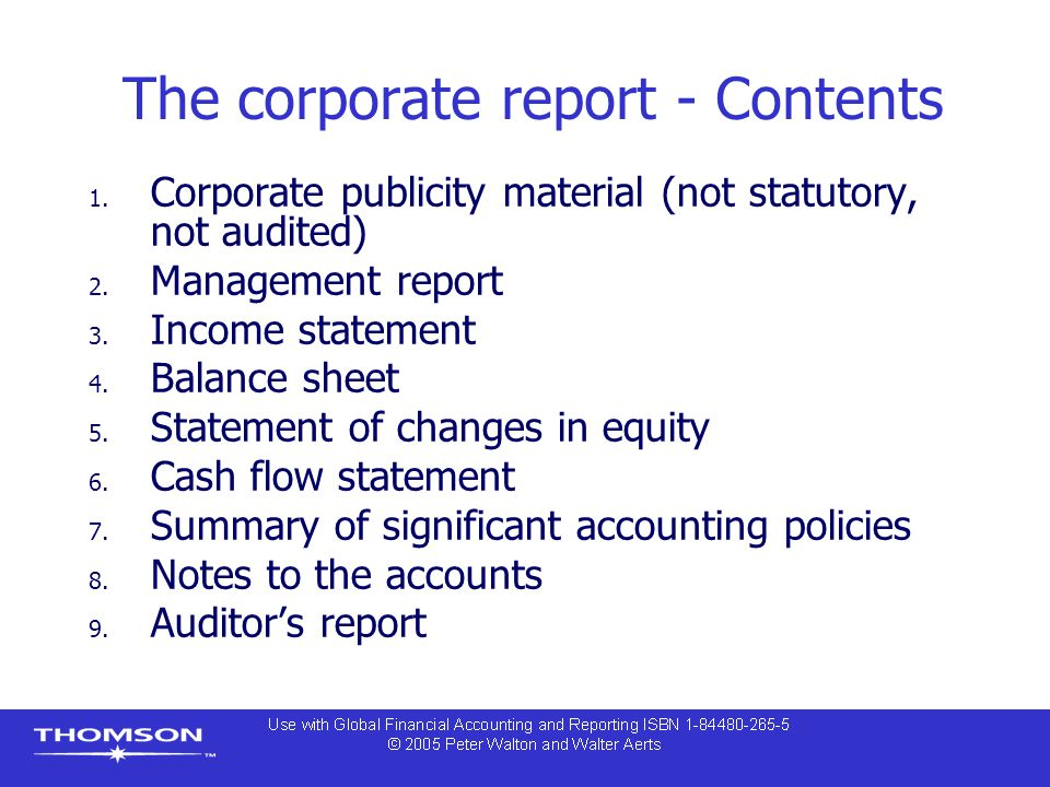 The corporate report - Contents 1. Corporate publicity material (not statutory, not audited) 2.