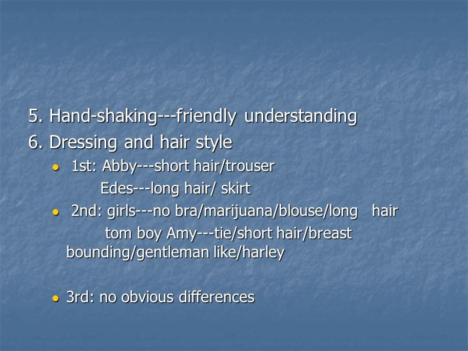 5. Hand-shaking---friendly understanding 6.