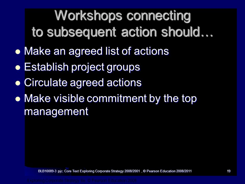 Exploring Corporate Strategy 8e, © Pearson Education 2008 BLB10089-3 pjc: Core Text Exploring Corporate Strategy 2008/2001, © Pearson Education 2008/201119 Workshops connecting to subsequent action should… Make an agreed list of actions Make an agreed list of actions Establish project groups Establish project groups Circulate agreed actions Circulate agreed actions Make visible commitment by the top management Make visible commitment by the top management