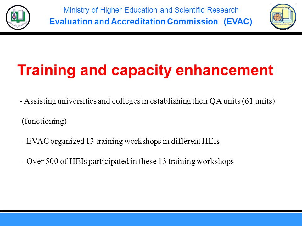 Ministry of Higher Education and Scientific Research Evaluation and Accreditation Commission (EVAC) Training and capacity enhancement - Assisting universities and colleges in establishing their QA units (61 units) (functioning) - EVAC organized 13 training workshops in different HEIs.