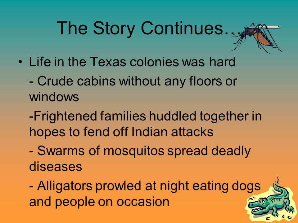 The Story Continues… Life in the Texas colonies was hard - Crude cabins without any floors or windows -Frightened families huddled together in hopes to fend off Indian attacks - Swarms of mosquitos spread deadly diseases - Alligators prowled at night eating dogs and people on occasion
