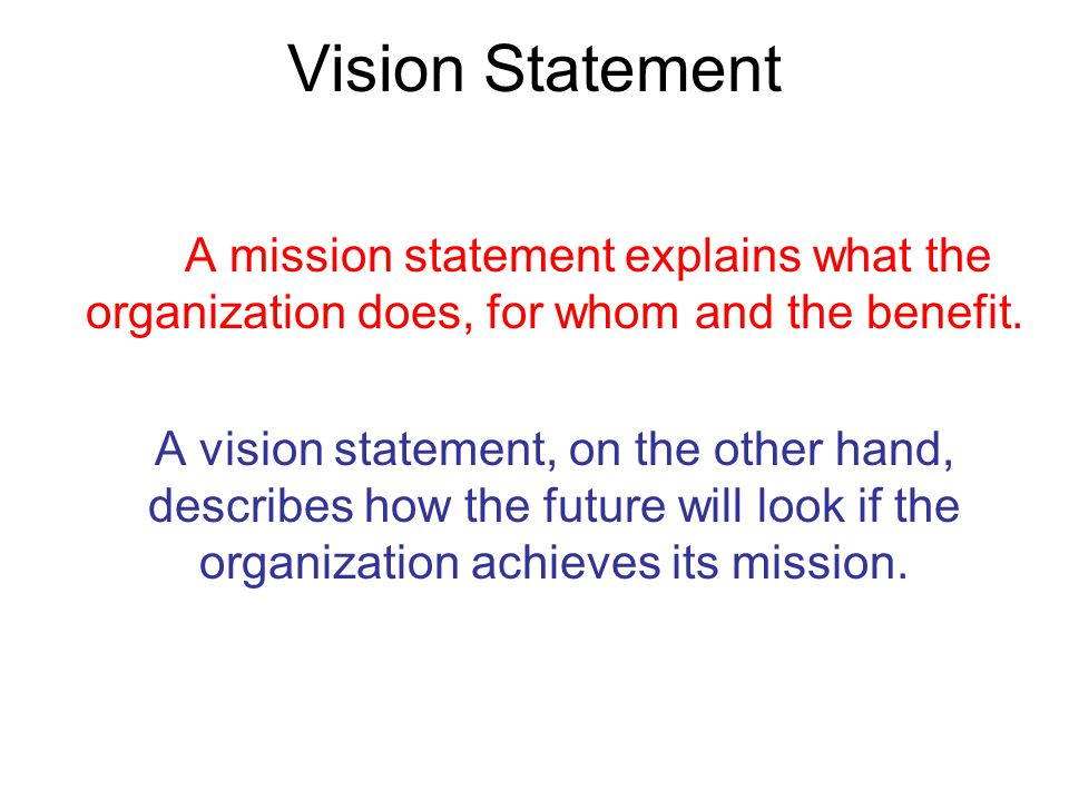 Vision Statement A vision statement describes how the future will look if the organization achieves its mission.