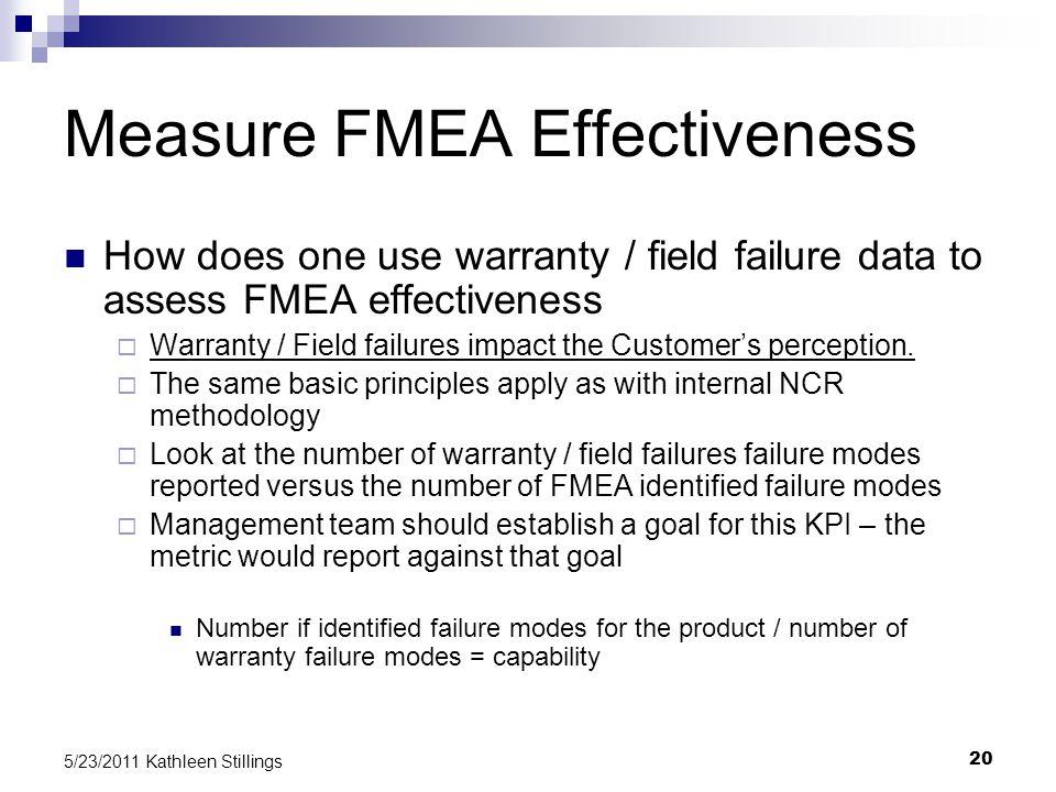 20 5/23/2011 Kathleen Stillings How does one use warranty / field failure data to assess FMEA effectiveness  Warranty / Field failures impact the Customer's perception.
